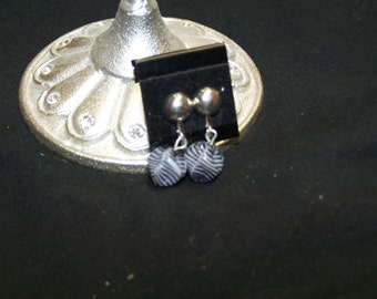 CLOSING SALE Clip on Grey Striped Acrylicl Earrings