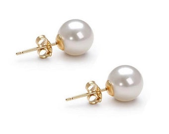 Graduation Gift - Akoya Pearl Earrings Studs AAA 6mm-10mm Japanese White Pearl Earrings Stud Bridesmaid Earrings Stud Free Shipping