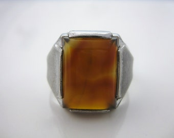 Size 9 3/4 Vintage Sterling Silver Rectangle Agate Ring