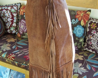 Leather Fringe skirt brown suede hippie Pocahontas skirt size S / M