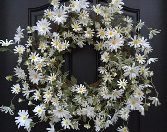 Spring Wreath, Spring Daisy Wreaths, White Daisy Wreath, White Wreaths, Front Door Wreaths, Door Wreaths, White Daisies for Door
