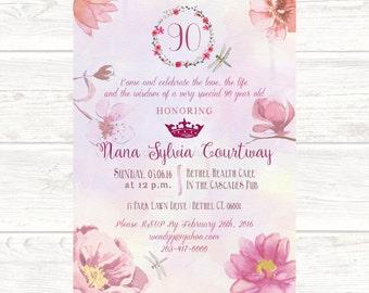 Printable Watercolor English Rose Invitation