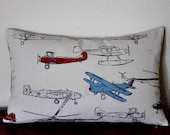 Vintage Air Pillow Cover in Pewter Gray Airplane Pillow Boys Room Pillow Den Pillow 5 Sizes