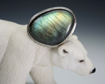 Labradorite Ring, Sterling Silver, Fabricated, Northern Lights, Blue Green Gold Flash