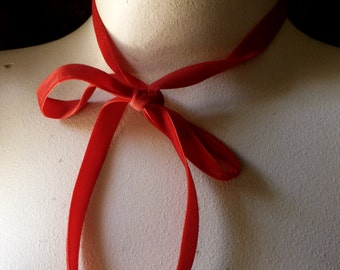 3 yds. Velvet Ribbon in RED for Bridal, Millinery, Costume Design, Crafts VL