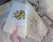 Bridal Handkerchief in Winter White Vintage Silk Jacquard and Linen Lace Trim from France OOAK Includes Valentines Day/ Gift Card