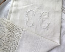Antique Linen Towel Handwoven from France Monogram CG with Upcycled Crocheted Fringe Large Towel