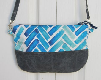 Blue Herringbone Cross Body Purse