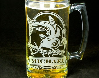 Personalized Catfish Beer Stein, Engraved Gift for Man, Outdoorsman, or Angler, Valentine's Day Gift for Man
