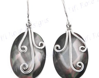 "7/8"" Mother Of Pearl Shell 925 Sterling Silver Earrings"