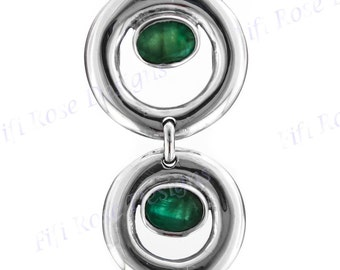 "1 1/2"" Double Emerald Gems Cast 925 Sterling Silver Pendant"