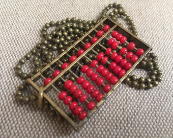 Necklace with Red Vintage Abacus Pendant