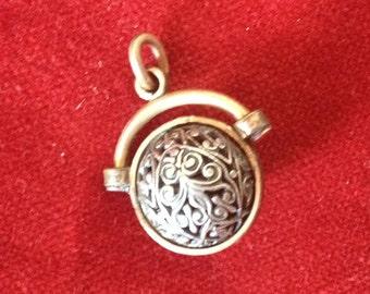 Lovely french antique filigree charm ball pendant, orb, sphere