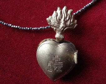 Flaming heart, sacred heart,  ex voto locket necklace