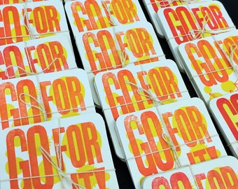 GO FOR IT! CreativeMornings/Buffalo April 2016 Quote, Pack of 5 Letterpress Printed Coasters