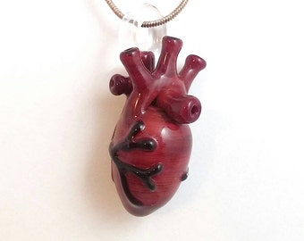 Anatomical Glass Heart Pendant - Glass by Patrice