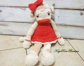 Large Crochet Girl Sock Monkey With a Dress and Bow Stuffed Toy