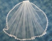 White First Communion Veil on Clip Barrette 1 Tier Veil with White Venice Lace Edge First Eucharist  22 Inches Long 57252