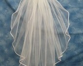 Ivory 24 Inch Long First Communion Veil Organza Flowers on Clip Barrette Narrow Ivory Satin Cord Edge  30074