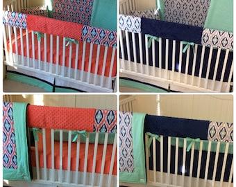 DEPOSIT Designer Crib Bedding Set Girl Boy Twins Navy Coral Mint Gray Ikat