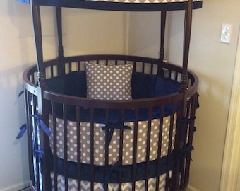 DEPOSIT Round Crib Bedding Navy and Gray Made To Order