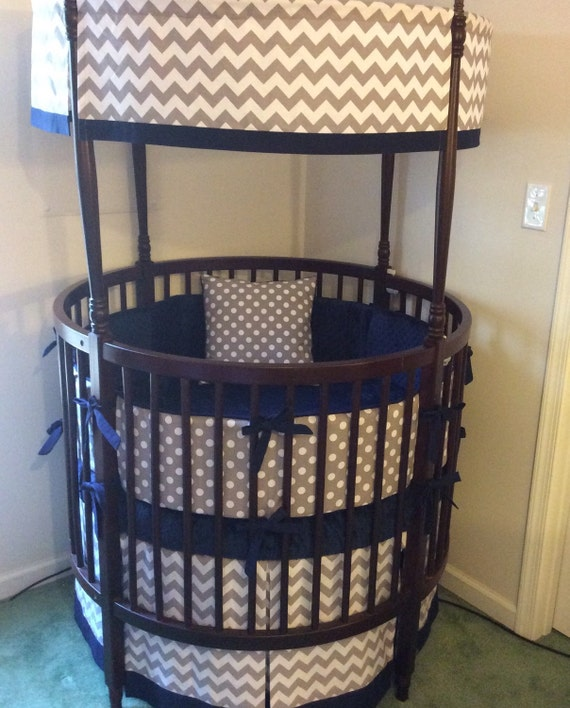 Gray & Navy Round Crib Bedding by ButterBeansBoutique