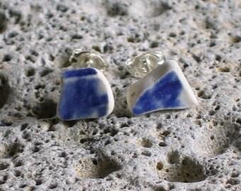Genuine Sea Beach Pottery Sterling Silver Studs Post Earrings (759)