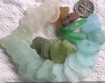 26 Sea Glass Shards Drilled 3mm holes Imperfections Sewing Craft Supplies (1772)