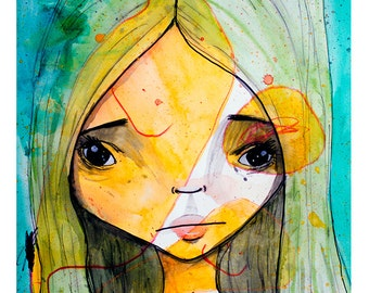 5x7 Fine Art Print - 'Green Juneau Dreams' - Small Giclee Print of Artist and daughter collaboration - Green and Yellow nursery Art