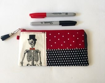 Zipper Bag, Pencil Bag, Charger Bag, featuring Skeleton on the Loose, great for travel, tampons, personal items