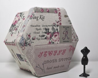 RESERVED;  Hexagonal Hand Made Sewing Box - Cross Stitch Theme - French Sampler - Fabric Covered Cartonnage