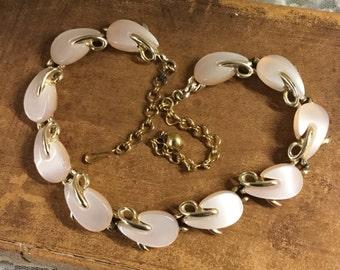 Utterly Romantic Blush Hued Thermoset Leaf Choker Necklace Goldtone Setting