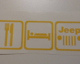 Eat Sleep Jeep Vinyl Decal Car Sticker