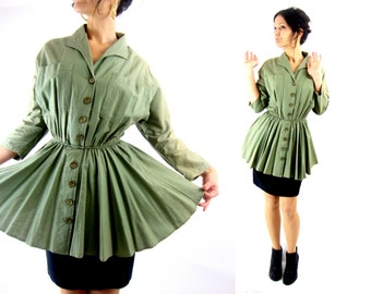 80s peplum dress / dolman sleeve / olive / s m
