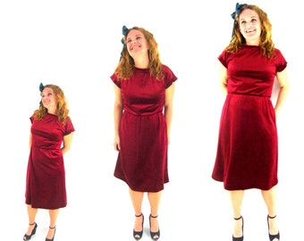 vintage 70s velour dress / maroon / burgundy / casual day dress / boat neck / m / l