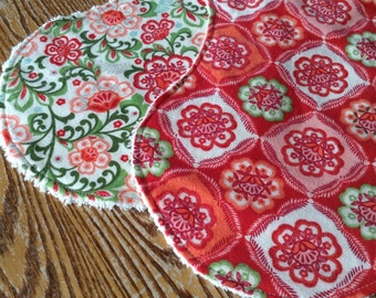 2 Flannel and Chenille Burp Cloths for Baby Girl, Red and Green Floral, ready to ship