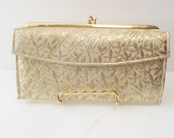 Vintage Rolfs Wallet Clutch Ladie's Gold Leather Organizer Wallet Zipper Pocket, Checkbook Holder, Bill and Coin Compartments NEW Condition