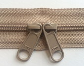 One 30 Inch 4.5mm YKK Zippers Color with Two Long Pull Head to Head Sliders - Color 573 Sand
