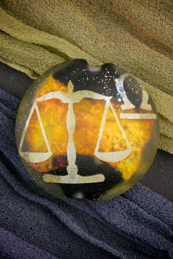 "SRA Lampwork Beads ""Libra"" Zodiac Sign Focal Dichroic Glass Lentil Bead Sandblasted Astrological Star Sign"