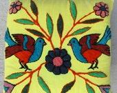 Vintage Punch Needle Embroidery Peruvian Yellow Pillow Case Birds Flowers Folk Art Textile Needlework 14 x 14