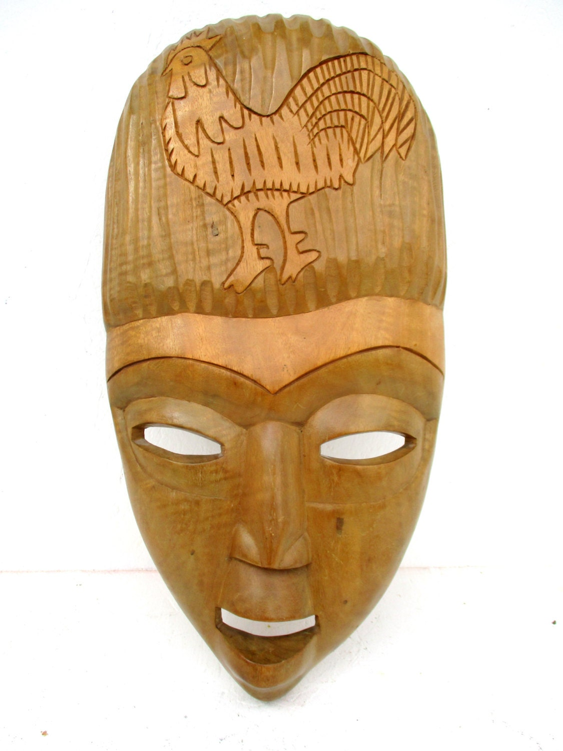 Vintage large african face mask wood carving wall hanging