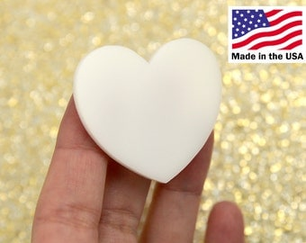 Heart Cabochons - 45mm White Solid Color Heart Acrylic or Resin Cabochons - 4 pc set