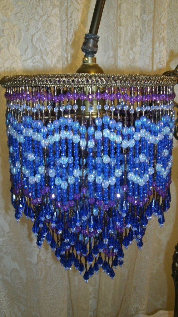 Cobalt blue all bead fringe lampshade with a unique 28 for Purple beaded lamp shade