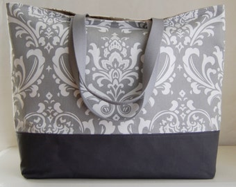 Grey Damask XL Extra Large Beach Bag / BIG Tote Bag - Ready to Ship