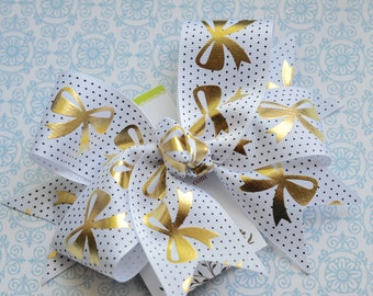 Golden Bows on White with Black Polka Dots XL Diva Bow