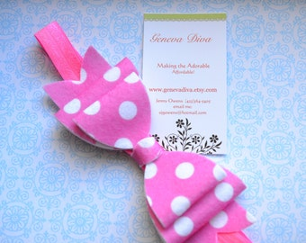 NEW-Bright Pink Polka Dot Felt Bow Stretch Headband