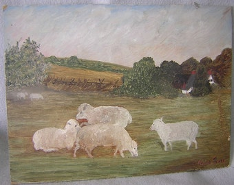 19thC Antique Folk Art Oil Painting of Sheep & a Cottage