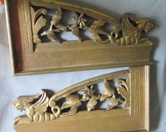 Pair Victorian Carved Architectural Elements Hippocampus Gargoyles