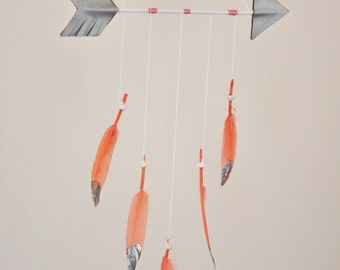 Arrow Mobile - Coral Feather Mobile, White, Glitter Dipped, Tribal Baby Nursery