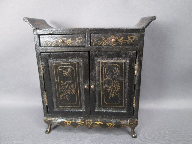 Vintage Dollhouse Furniture Black Lacquer Chinoiserie
